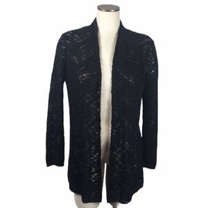 New Directions Black Open Cardigan Small